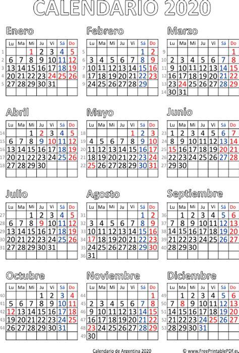 calendario de argentina imprimir el gratis