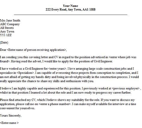Sle Civil Engineering Cover Letter by Application Letter Civil Engineering Position