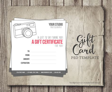 Photography Gift Card Template Digital Gift Certificate