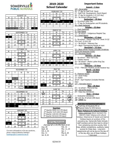 district school year calendar somerville public schools