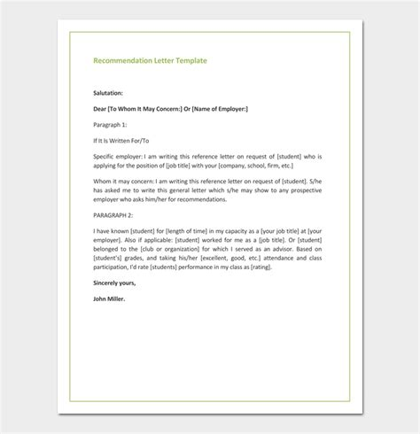 recommendation letter  promotion  samples formats