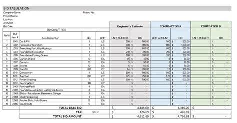 bid tabulation template   top  construction
