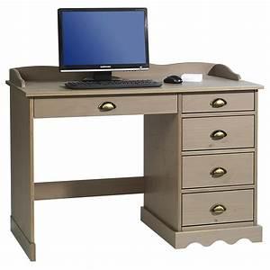 Bureau En Pin : bureau en pin massif colette avec corniche lasur taupe mobil meubles ~ Teatrodelosmanantiales.com Idées de Décoration