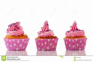Pink Cupcakes With Purple Sprinkles Stock Photo - Image of ...