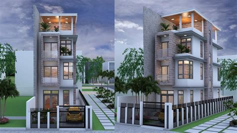 Narrow House 4 Stories House Plan Design Sketchup + Lumoin