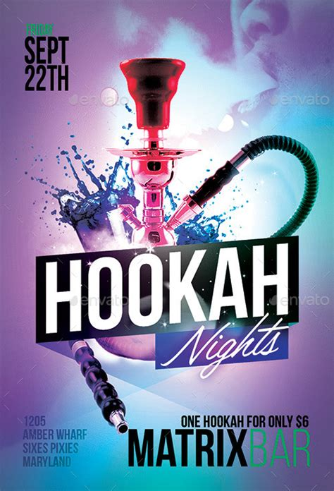 hookah nights party flyer template  flyermarket