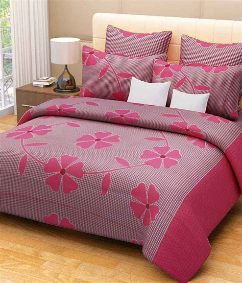 elegance pink floral bedsheet with 2 pillow cover