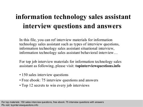 Talent Acquisition Specialist Questions by Information Technology Sales Assistant Questions