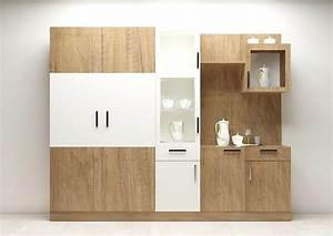 Modular crockery unit with plywood and laminate finish