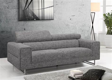 canapé tissu moderne canapé 3 places tissu design gris avec dossiers hauts gris