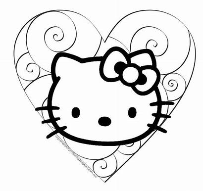 Kitty Hello Coloring Valentine Pages