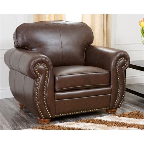 abbyson living pearla leather club arm chair with ottoman