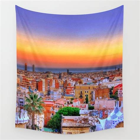 Barcelona Sunset Wall Tapestry by fractalfashions | Society6