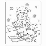 Coloring Cartoon Skiing Winter Outline Ski Della Sci Gli Corsa Boy Het Ragazza Fumetto Sporty Profilo Coloritura Pagina Pensionante Azzurro sketch template
