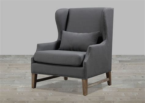 Wing Chair by Grey Linen Wing Chair With Nailheads