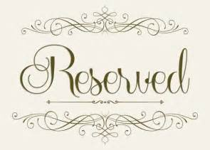 Free Printable Wedding Reserved Seating Signs