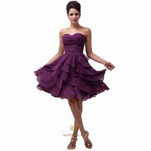 purple short bridesmaid dresses purple tea length With short purple wedding dresses