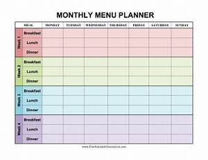 four weeks are decorated in different colors in this With breakfast lunch and dinner menu template