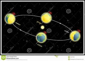 Equinox And Solstice  The Earth S Movement Around The Sun Stock Vector