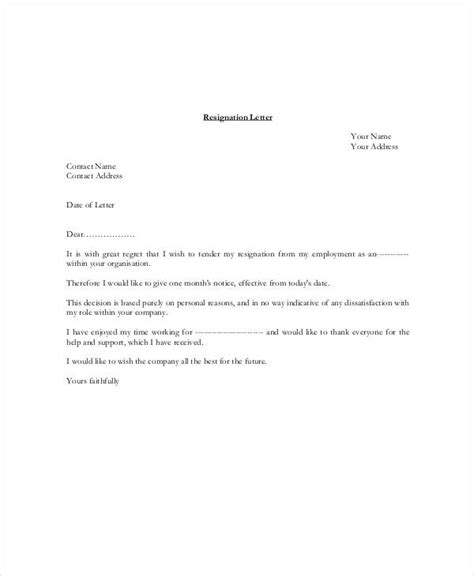 resignation letter   day notice template