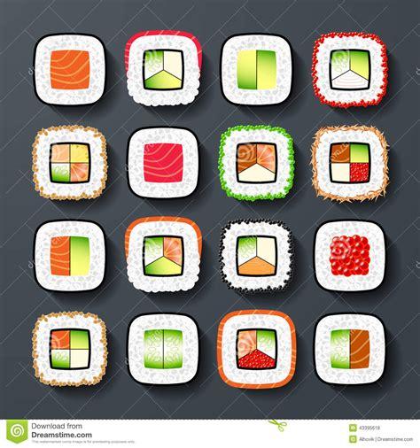 different types of cuisine maki sushiarten vektor abbildung illustration stab