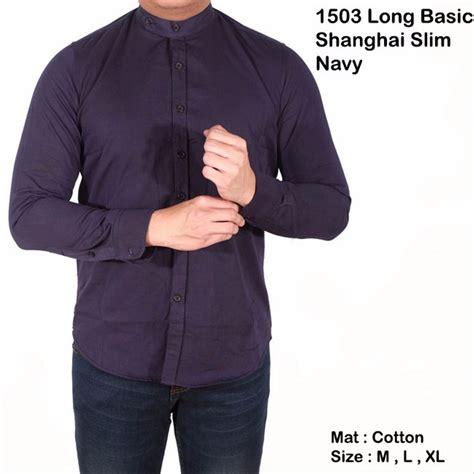 jual terlaris baju kemeja koko lengan panjang motif kerah sanghai oxford biru di lapak distro 23