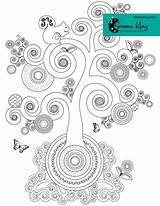 Coloring Spiral Tree Adult Serenaking Colouring Mandala Chakra sketch template