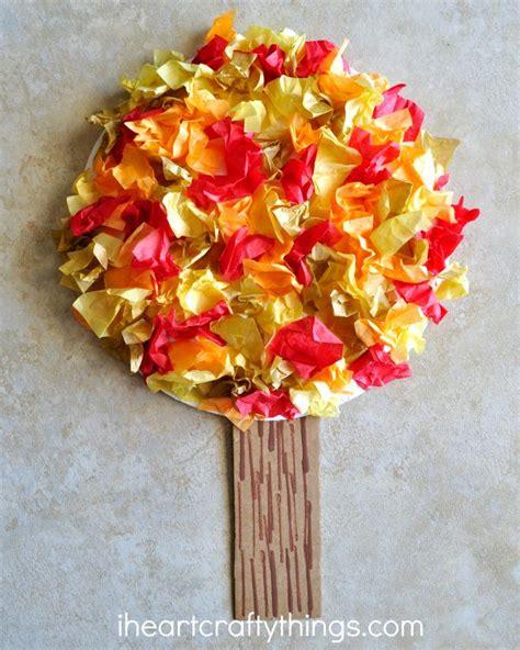 tissue paper fall tree craft 288 | fall tree kids craft 2