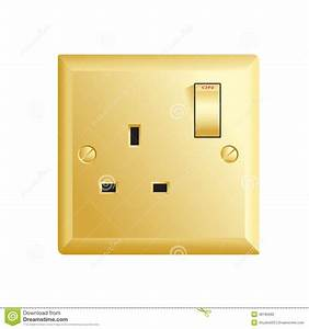 Gold Uk Socket Stock Vector  Illustration Of Electrical