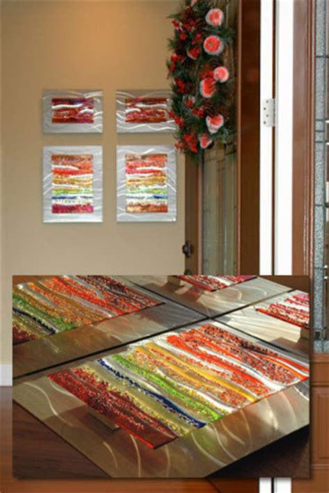 contemporary glass wall art fused glass metal wall art