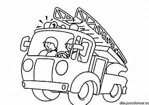 Dibujo de una ambulancia con dos bomberos