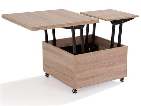 table basse carree bois avec rangement ezooq