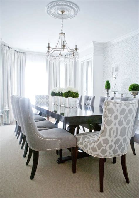 formal living room window treatments gray dining chairs transitional dining room decor