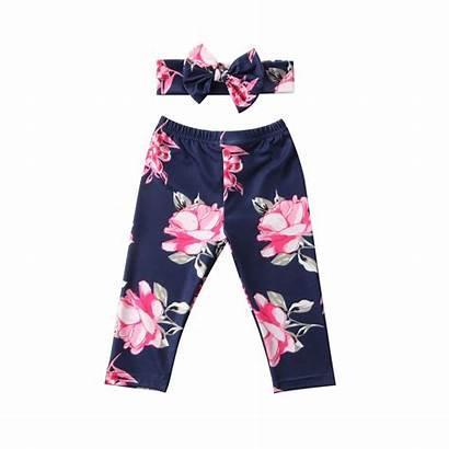 Pants Floral Leggings Trousers Newborn Headband Bottoms