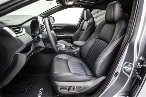 toyota rav4 interior 2019 toyota rav4 hybrid front interior seats 1 motor trend