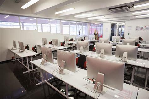 empty computer room stock photo