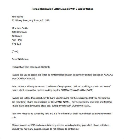 week notice letter samples resignation templates