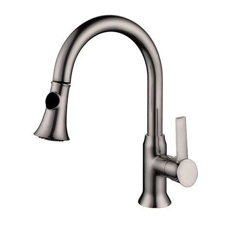 pull kitchen faucet brushed nickel yosemite home decor single handle pull out sprayer kitchen