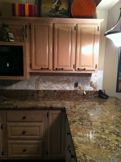 Pickled Oak Cabinets With Backsplash by Kitchen Tile Backsplash Help