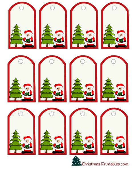 christmas gift tags with santa and tree etiketten