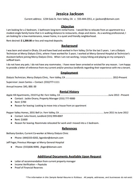 how to create the rental resume