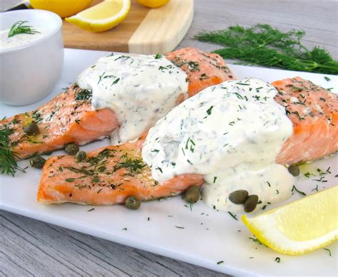 45 healthy salmon recipes that you'll want to make again and again. Baked Salmon with Creamy Dill Sauce - Keto/Low Carb - Keto Cooking Christian