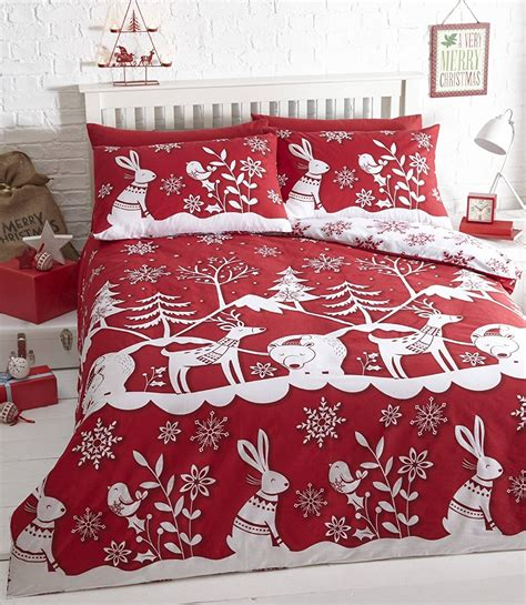 Father Christmas Duvet Cover Set Tree Santa Snowman Angels