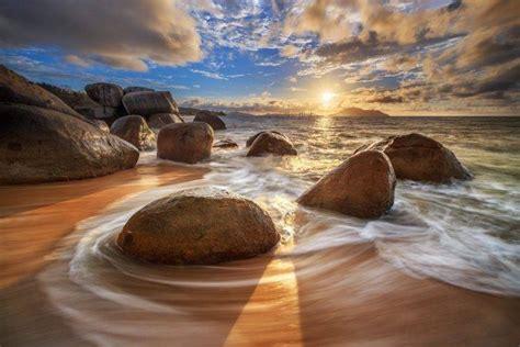 photography rocks beach long exposure sea clouds