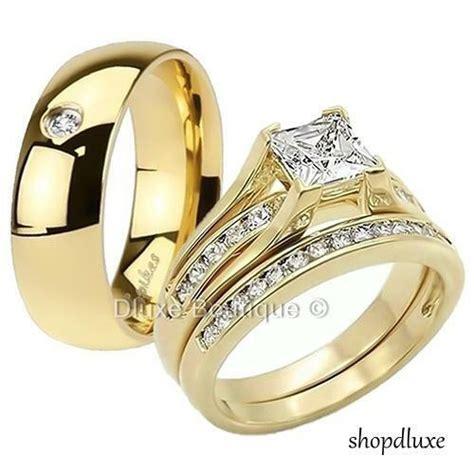 his hers 3 piece men s women s 14k gold plated wedding