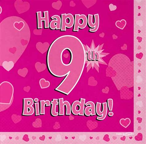 Happy 9th Birthday Images Happy 9th Birthday Pink Hearts Napkins In Packs Of 16