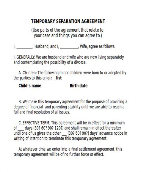 sample separation agreement templates  ms word