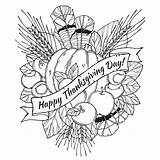 Coloring Adults Pages Thanksgiving Popular sketch template