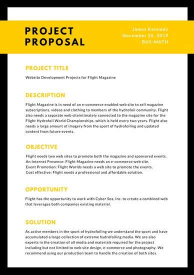 Black Yellow General Proposal  Templates By Canva