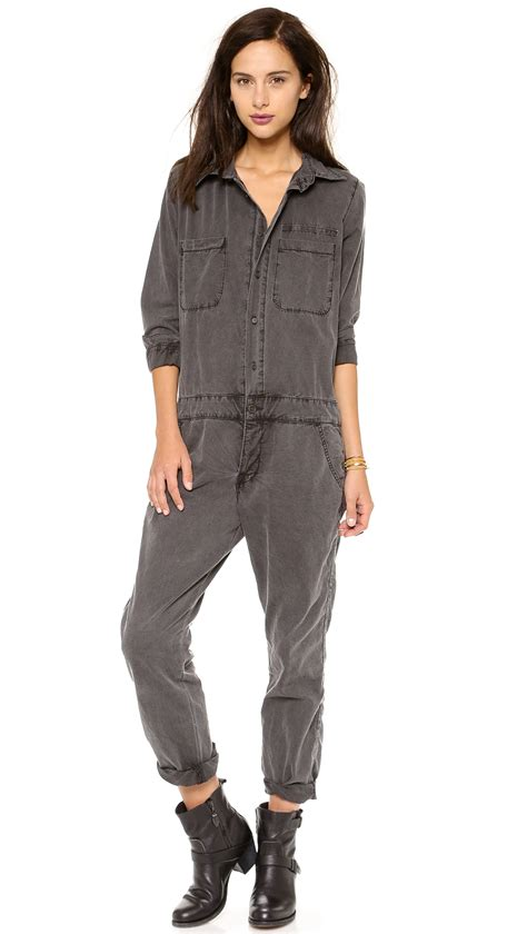 mechanic jumpsuit nsf clothing mechanic jumpsuit in gray black lyst